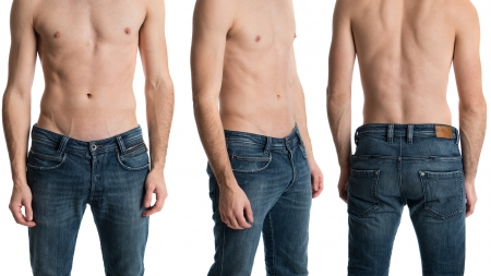 male torso: Shirtless man in jeans from three angles.