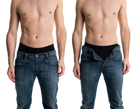 unbuttoned: Shirtless man with jeans zipped and unzipped.
