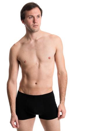 boxer shorts: Man in underwear. Studio shot over white.