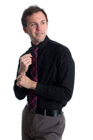 Young man in a shirt and tie  Studio shot over white  photo