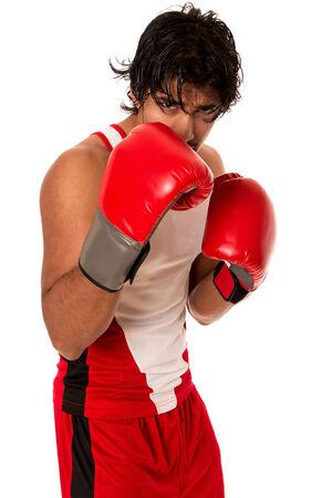 Male boxer in red. Studio shot over white.