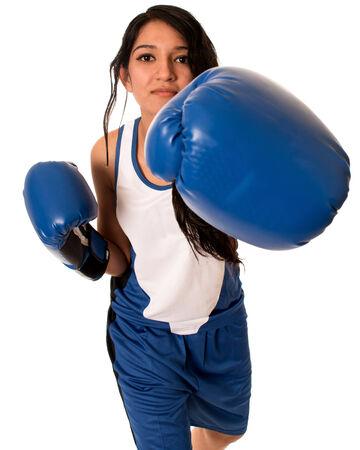female boxer: Female boxer in blue. Studio shot over white.