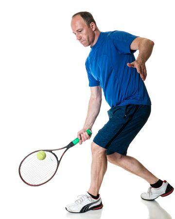 fourties: Tennis action shot. Forehand. Studio shot over white.