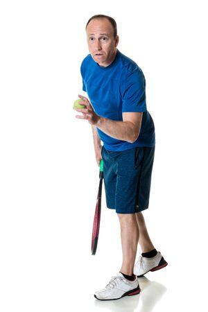 serve one person: Tennis action shot. Serve. Studio shot over white.
