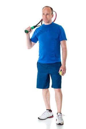 adult male: Adult giocatore di tennis maschile. Studio girato su bianco. Archivio Fotografico