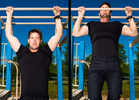 pull up: Athletic man doing pullup exercise on playground equipment. Stock Photo