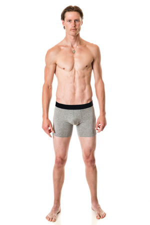 jungen unterwäsche: Mann in der Unterwäsche. Studio shot over white.