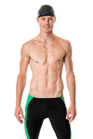 athletic wear: Young adult swimmer. Studio shot over white.
