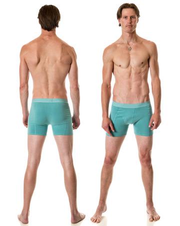 hombres sin camisa: Hombre en ropa interior. Estudio de disparo sobre el blanco.