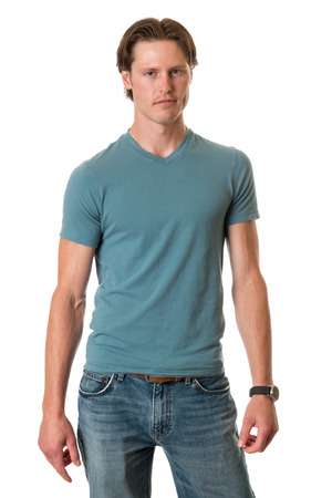 young adult man: Casual young adult man. Studio shot over white. Stock Photo