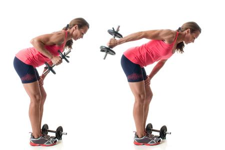 triceps: Triceps kickback exercise. Studio shot over white.