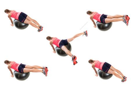 stability: Stability ball exercise. Studio shot over white. Stock Photo