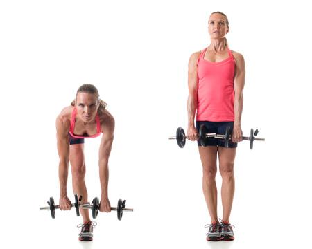 single woman: Sola pierna ejercicio peso muerto. Estudio de disparo sobre el blanco.