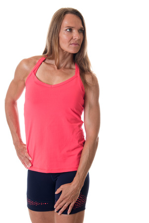 athletic wear: Athletic adult woman. Studio shot over white.