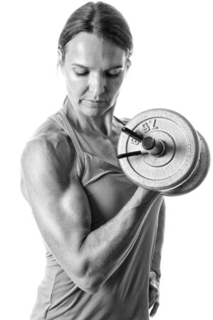 tricep: Bicep curl exercise. Studio shot over white. Stock Photo