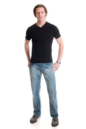 black t shirt: Man in jeans and black tee shirt. Studio shot over white.