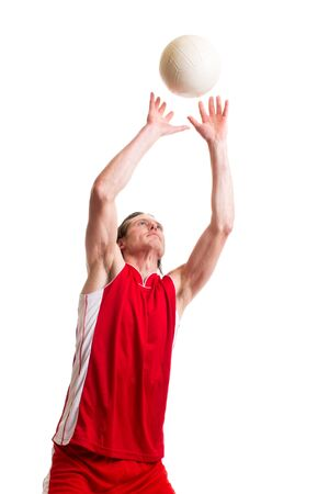 one person: Male volleyball player. Studio shot over white.