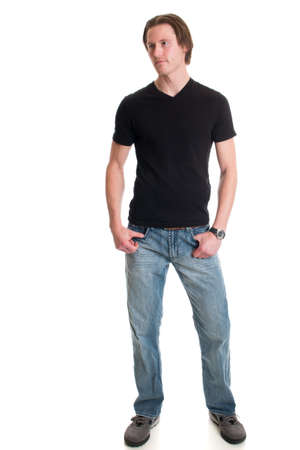 young male: Man in jeans and black tee shirt. Studio shot over white.