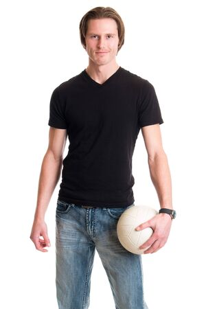tee shirt: Man in jeans and black tee shirt with volleyball. Studio shot over white.