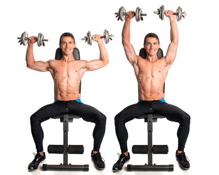 shoulders: Seated Shoulder Press. Studio composite over white.