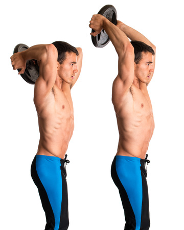 tricep: Overhead Tricep Extension. Studio composite over white.