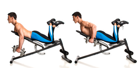 to incline: Dumbbell Incline Row. Studio composite over white.