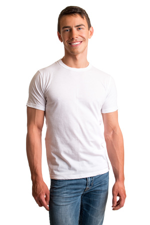 shot: Young man in jeans and tee shirt. Studio shot over white. Stock Photo