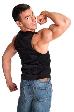 muscular men: Bodybuilder posing. Studio shot on white. Stock Photo
