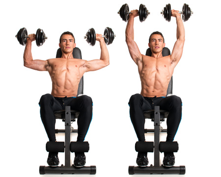 seated: Seated Shoulder Press. Studio composite over white.
