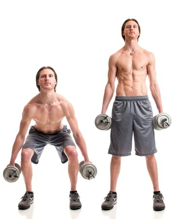 squat: Dumbbell squat exercise. Studio shot over white.
