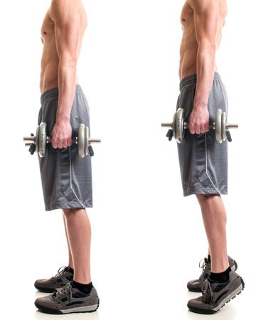 calas blancas: ejercicio de levantamiento de pantorrillas ponderado. Tiro del estudio sobre blanco. Foto de archivo