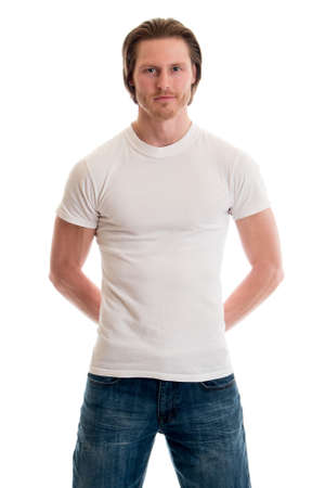 man shirt: Man in jeans and white tee shirt. Studio shot over white. Stock Photo