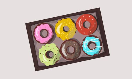 Sweet vector set donuts. Delicious bakery. Tasty dessert.