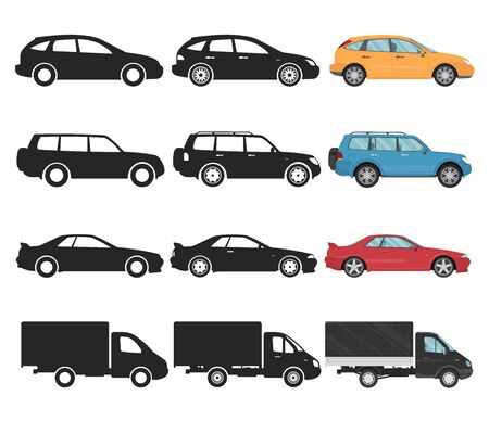 Flat cars icons, 3 different types, side view, black and white and color vector illustration, sedan, sport car, 4x4 suv, hatchback, truck, lorry