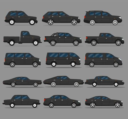 Transport design on gray background, vector illustration. Collection pickup icon set