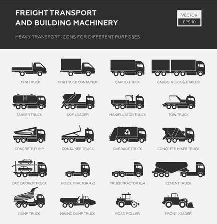 Freight transport and building machinery. Heavy transport icons for different purpose.