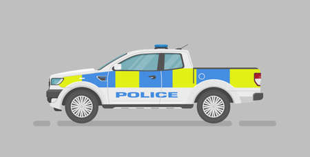 Vector pickup truck. English police car. Cartoon flat illustration, auto for graphic and web design. Side view. Vecteurs