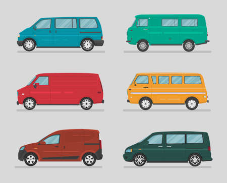 Urban vehicles. Set of different types of vector cars: sedan, hatchback, wagon, minivan, suv, crossover. Cartoon flat illustration. Auto for graphic and web design.