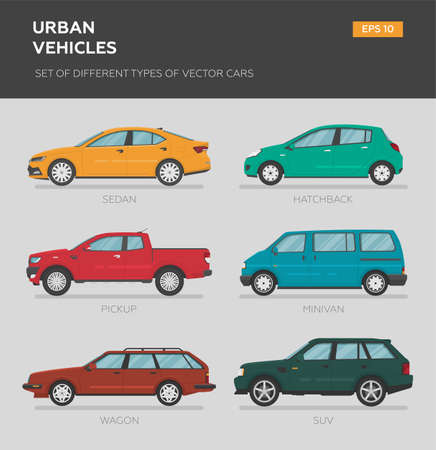 Urban vehicles. Set of different types of vector cars: sedan, muscle car, minivan, pickup, truck, coupe. Cartoon flat illustration. Auto for graphic and web design. Vektorové ilustrace