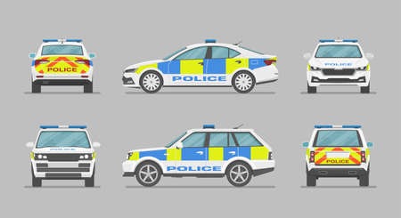 English police car. Side view, front view, back view. Cartoon flat illustration, auto for graphic and web