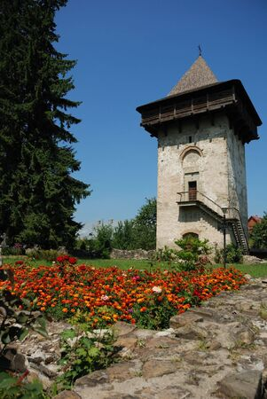 spire: The spire at Humorului Monastery, Moldavia, Romania,