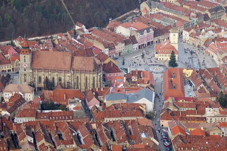 aerial view of a brasov downtown with black church and council square (piata sfatului) Stock Photo