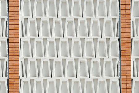trapezoid: Fondo de detalle arquitect�nico con ladrillos de barro y ladrillos de hormig�n trapezoidal