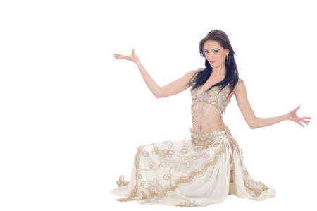dancing woman wearing exotic dress isolated on white