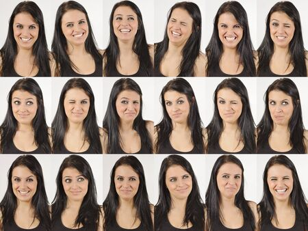 Series of head portraits of a happy and laughing natural young woman photo