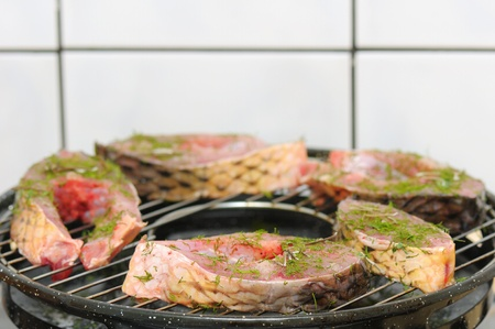 closeup view of fresh fish with green spicies on grill Stock Photo - 12710164