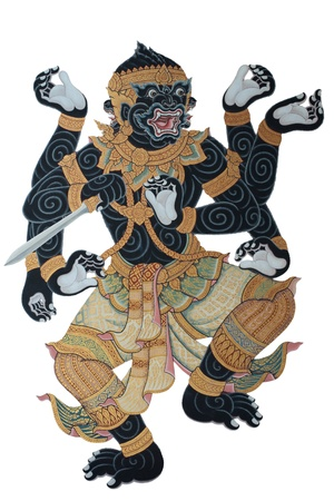 Ancient Thai art of hanuman-monkey , temple wall photo