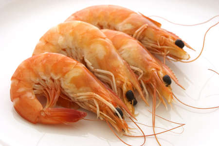 Group of prawns on a plate