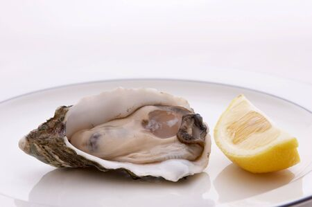 Oyster in the shell on a plate with a lemon