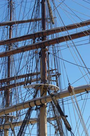 rigging: A sailing ships masts and rigging Stock Photo